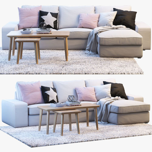 ikea kivik 3 two seat sofa with chaise longue 3d model. Black Bedroom Furniture Sets. Home Design Ideas