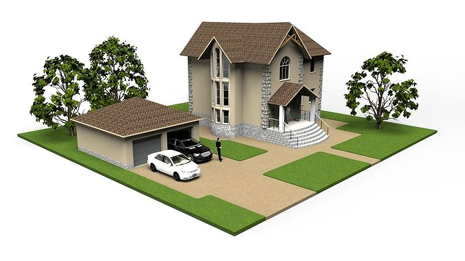 Modern small house 3d cgtrader Small home models pictures