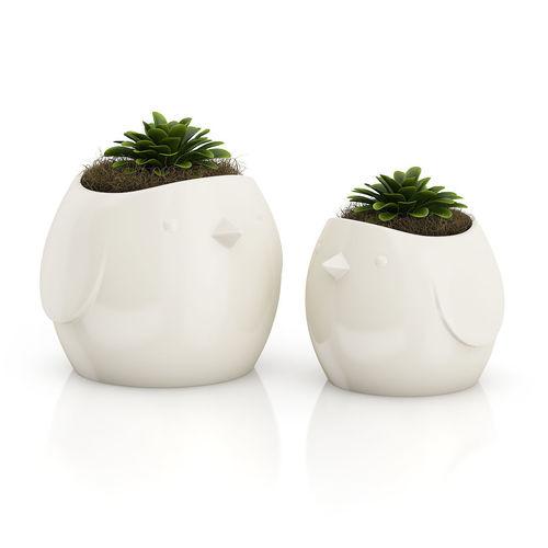 two plants in bird pots 3d model max obj fbx c4d mtl 1