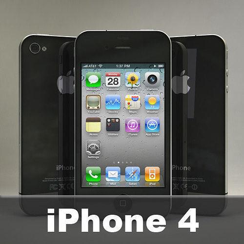 apple iphone 4 3d model obj 3ds fbx c4d dxf stl 1