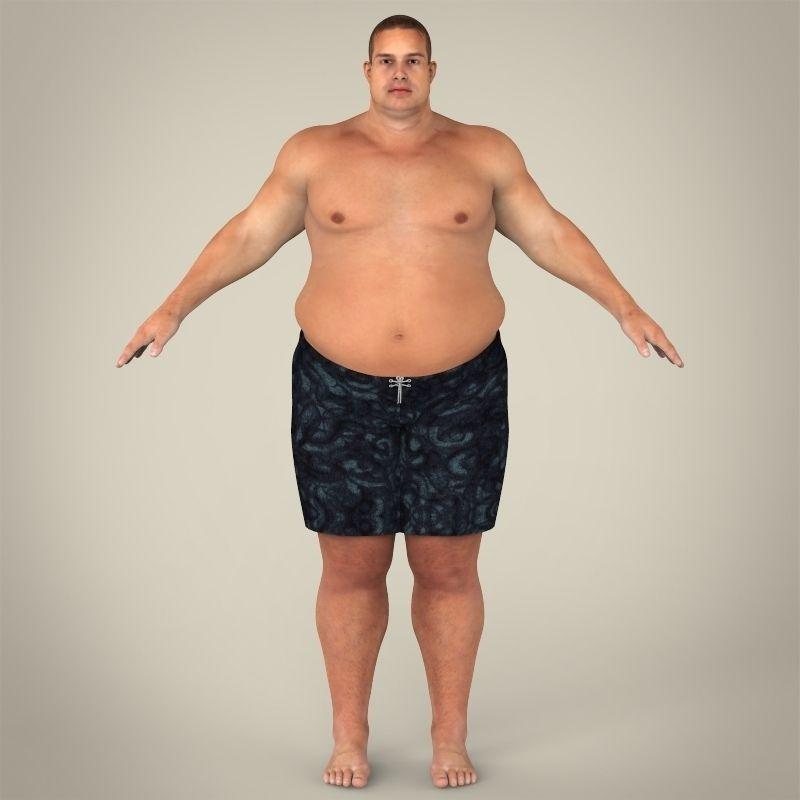 Realistic Fat Man 3D Model MAX OBJ 3DS FBX C4D LWO LW LWS