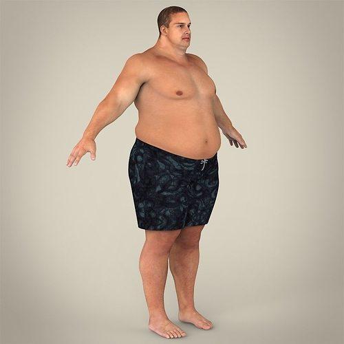 Short naked fat guy