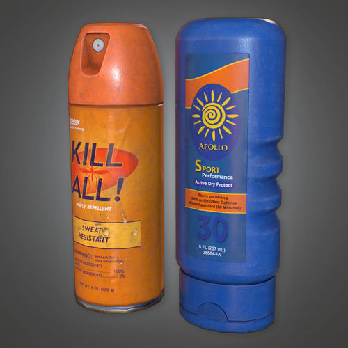 CAM - Bug Spray and Sun Tan Lotion - PBR Game Ready 3D model