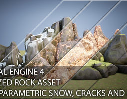 Stylized Rock for UE4 with procedure moss snow 3D model 2