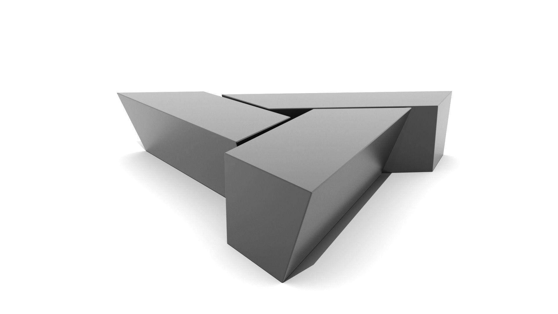 - Three Piece Triangular Coffee Table 3D Model Game-ready