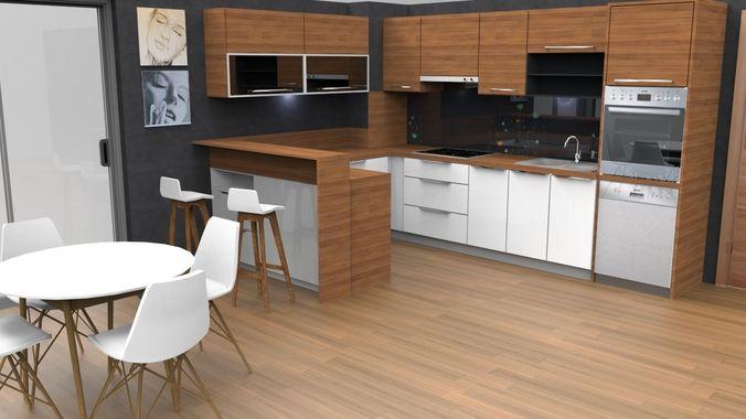 3D asset modern kitchen design with island | CGTrader on Modern:8-Rtxafges8= Model Kitchen  id=73296
