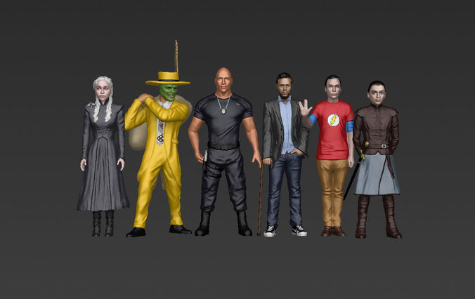 famous tv characters ready for full color 3d printing v1 3d model obj mtl stl wrl wrz 1