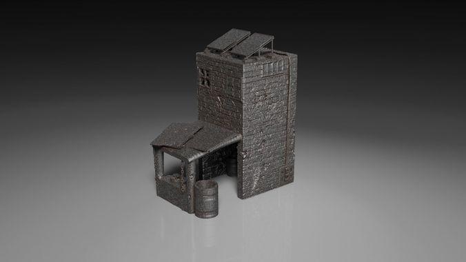 post apocalyptic kitchen storehouse building terrain 3d model obj mtl stl 1