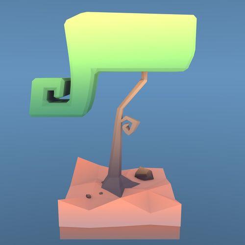 low poly tree - swirly tree 3d model low-poly obj mtl fbx blend 1