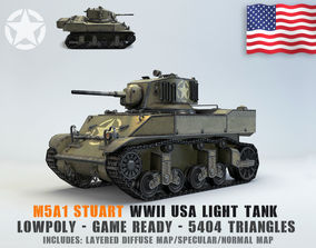 game 3D model Low Poly M5A1 Stuart light tank
