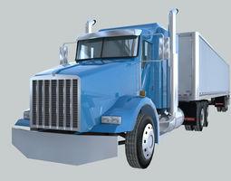Heavy Duty tractor truck american design low poly 3D model