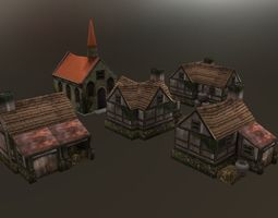 3D model Lowpoly Medieval Houses