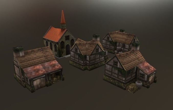 lowpoly medieval houses 3d model low-poly max obj mtl 1