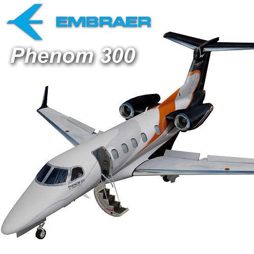 embraer phenom 300 3d model low-poly animated max obj mtl 3ds fbx stl 1