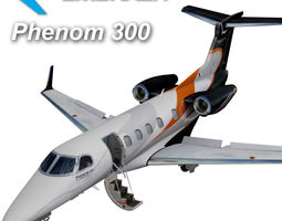 embraer phenom 300 3d model low-poly rigged animated max 3ds fbx