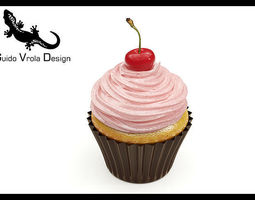3D model Cupcake with cherry