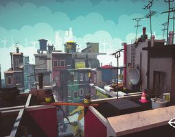 3D model Cartoon Low Poly Modular City Pack