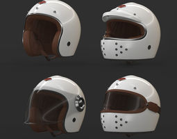 Collection of Motorcycle Helmet 3D model low-poly