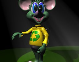 Green Mouse RIGGED 3D asset