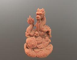 Asian Dragon with ball 3D printable model
