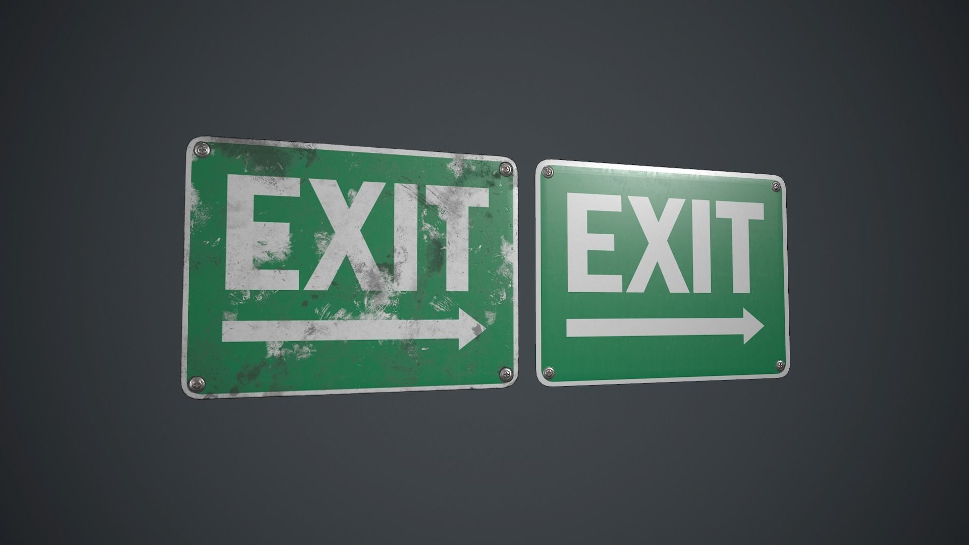 Plastic Exit Sign 2 PBR Game Ready