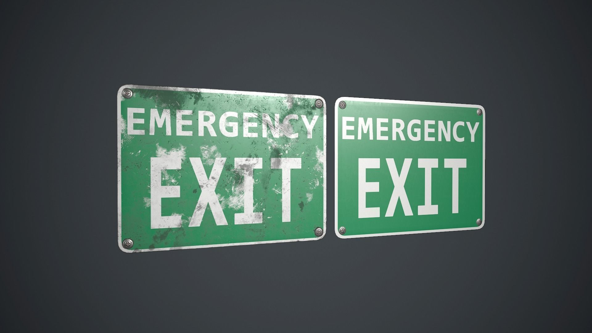Plastic Exit Sign 3 PBR Game Ready