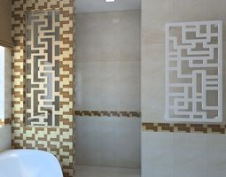 Beautiful Bathroom With Chess Tiles 3D Model