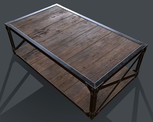Industrial Style Coffee Table For Pbr Challenge Interior Design 3d Model  Obj Mdl 1