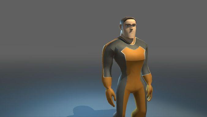 super hero 3d model low-poly rigged fbx 1