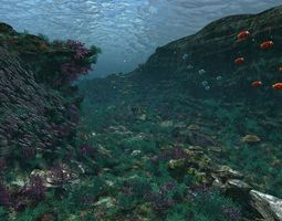3D model Underwater world of coral and aquatic plants 1