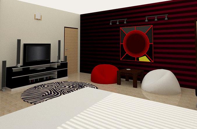 3d model simple room interior cgtrader for Basic 3d room design