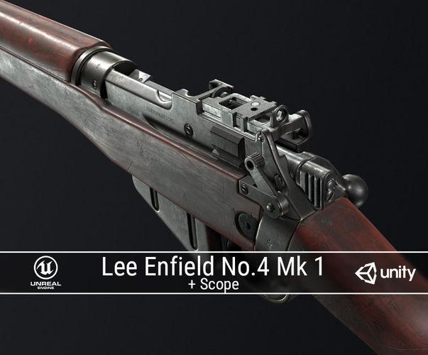 pbr lee enfield no 4 mk 1 3d model low-poly obj mtl fbx ma mb dae 1