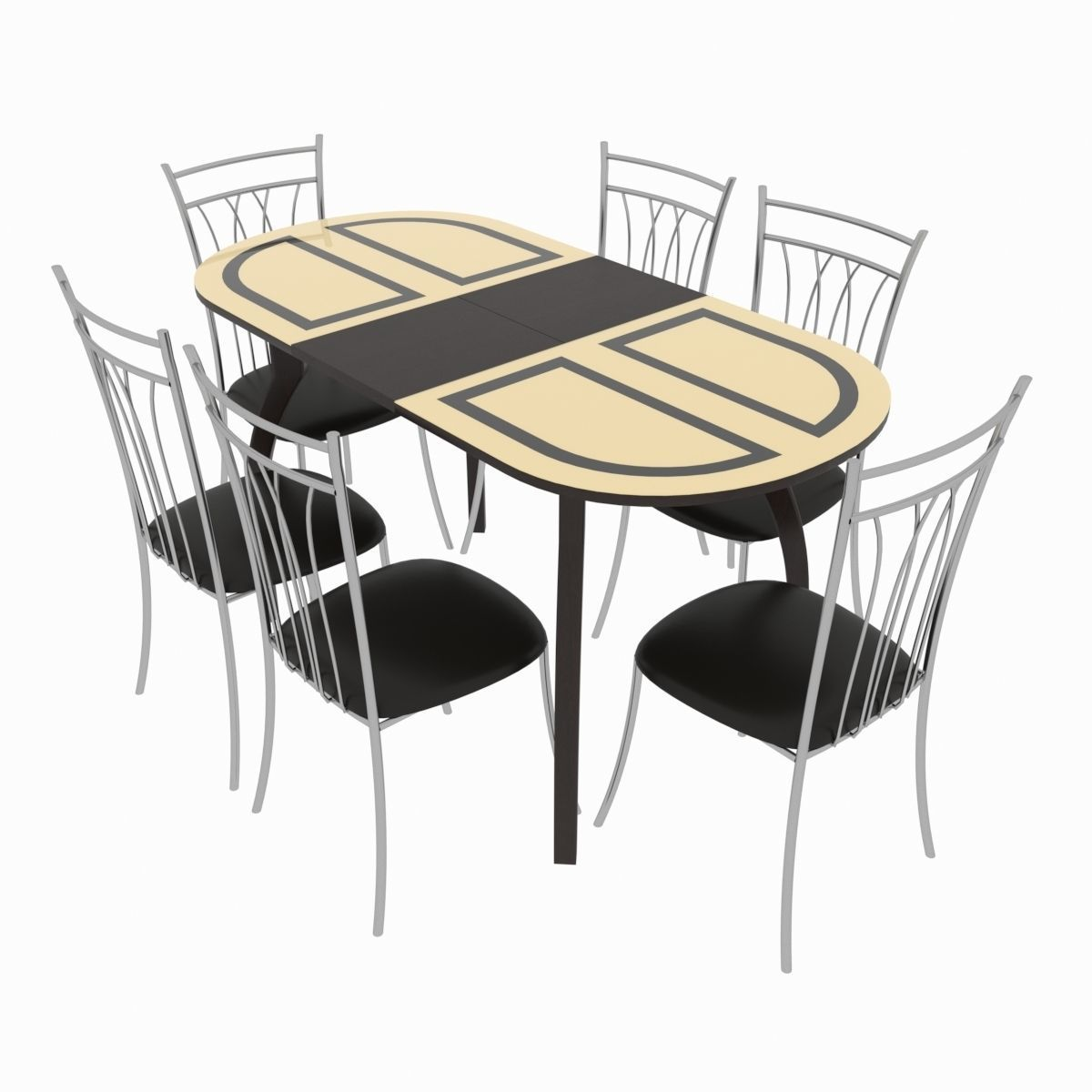 Dining set consisting of a table Milan Venge and chairs 3D
