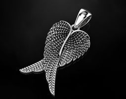 blackening 3D print model Angel wings pendant