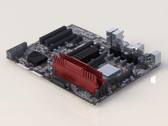 motherboard asrock 970 extreme 3 r2 3d model stl sldprt sldasm slddrw 1