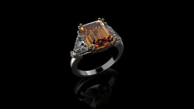 yellow gold citrine diamond ring 3d model stl 3dm 1