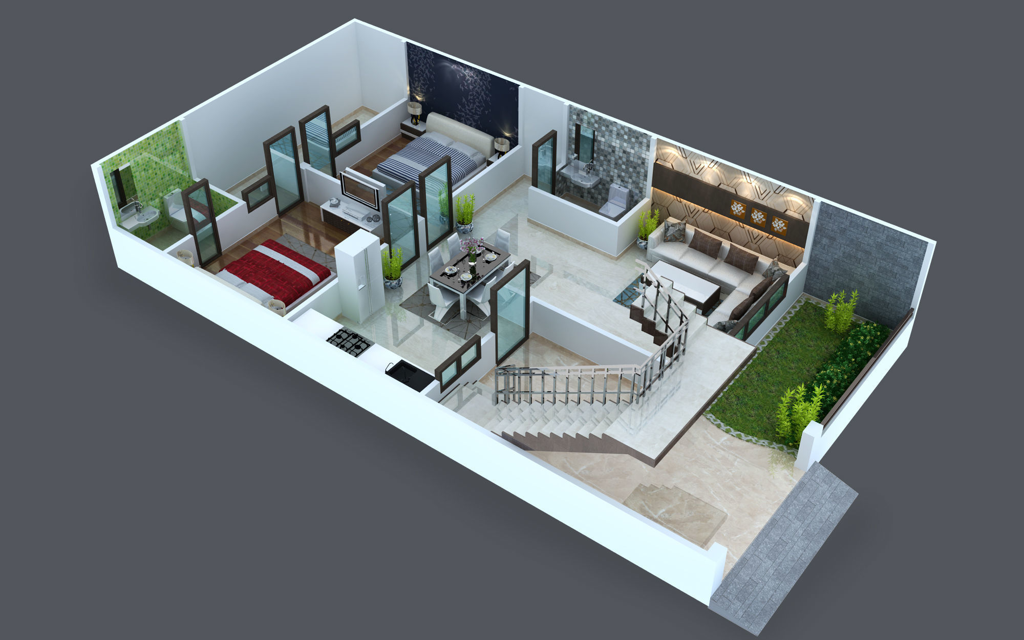 Cut out floor plan for duplex 3D print model | CGTrader