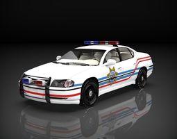 3D asset chevrolet impala 2003 police car low poly