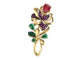 Brooch Flower 3D printable model diamond