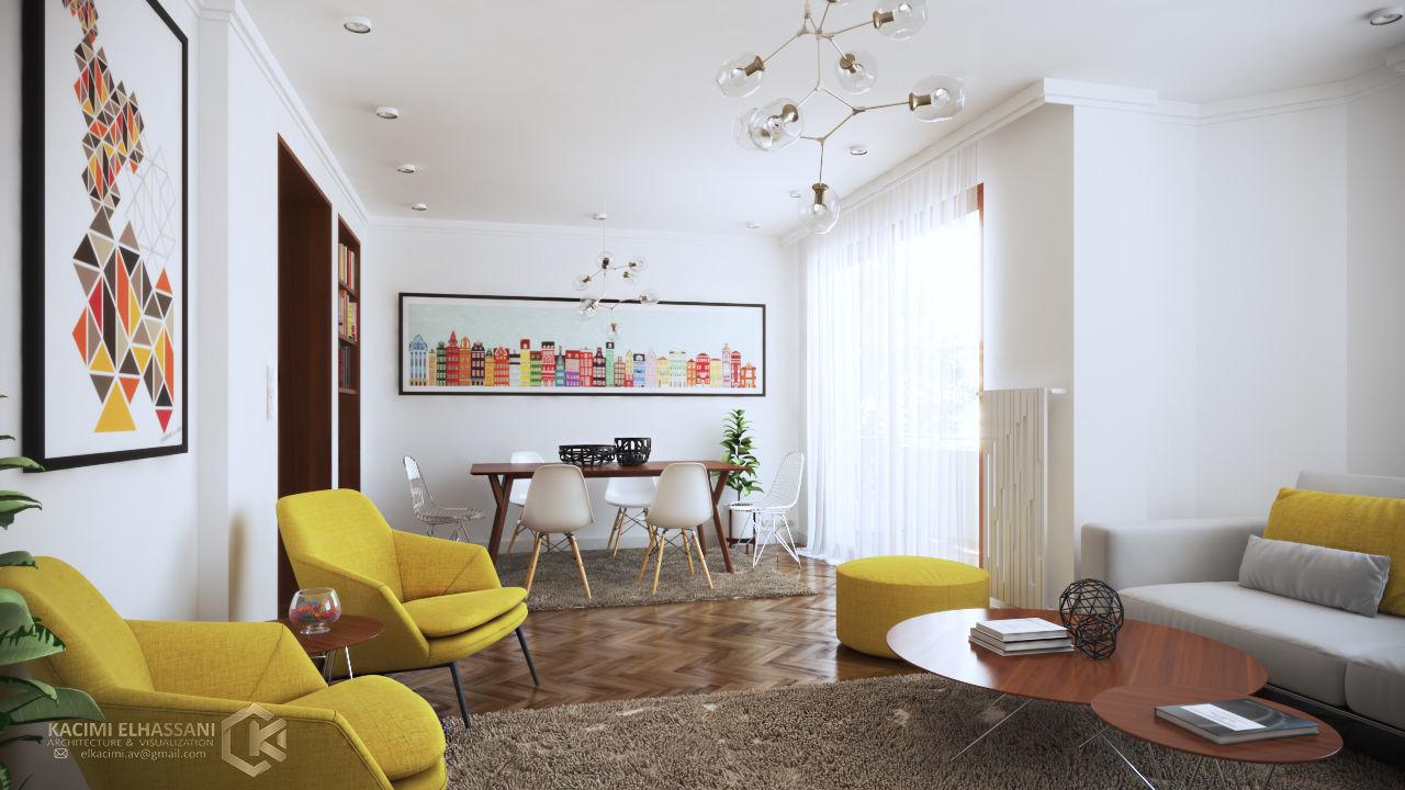 Optimistic Yellow Home interior design kids 3D | CGTrader