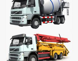 3D model Collection Cement Mixer Concrete pumper