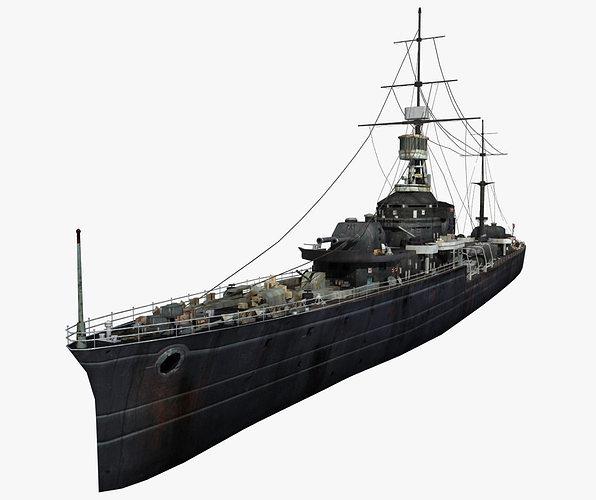 old warship 01 3d model max fbx 1