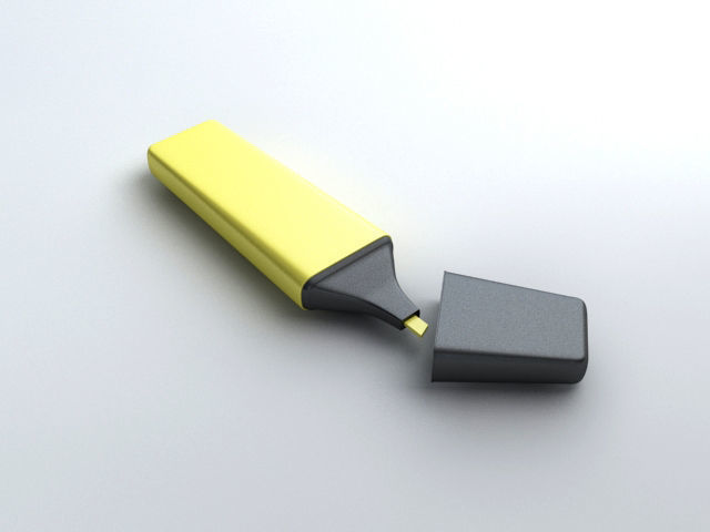 highlighter pen 3d model max obj mtl 3ds fbx 1