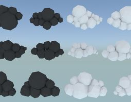 12 Mobile VR and AR Ready Clouds 3D asset