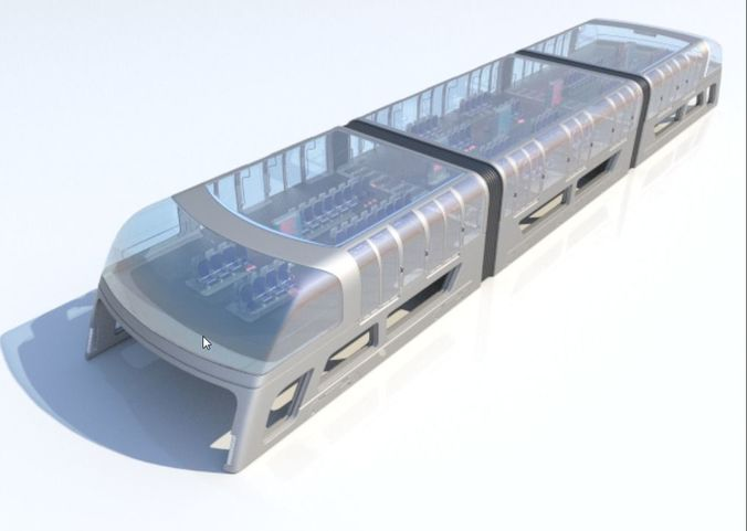 train bus - concept of future transport system 3d model max fbx 1