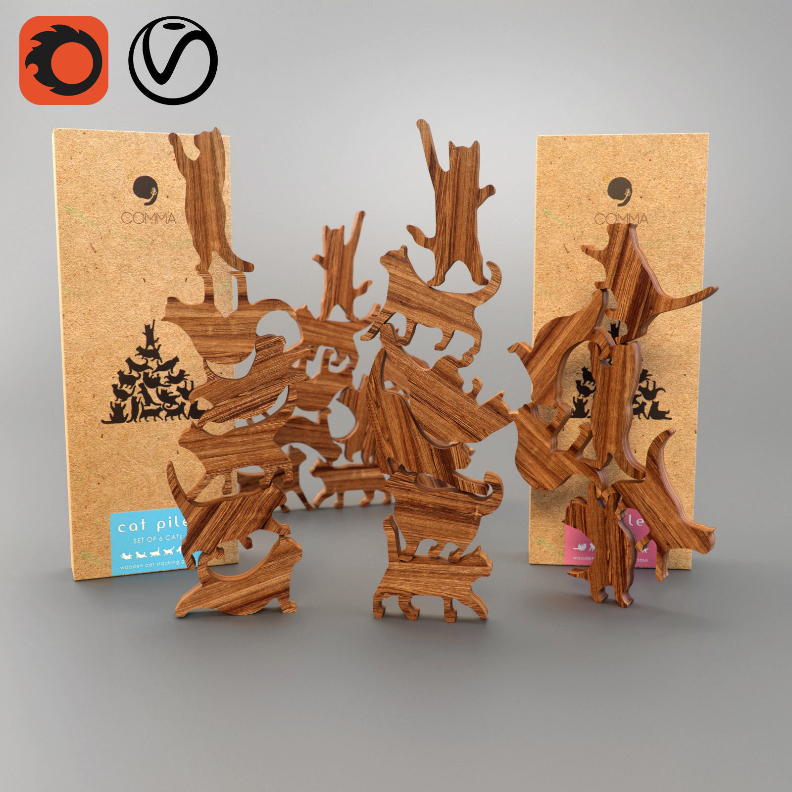 3d model comma cat pile plus wooden puzzle cgtrader