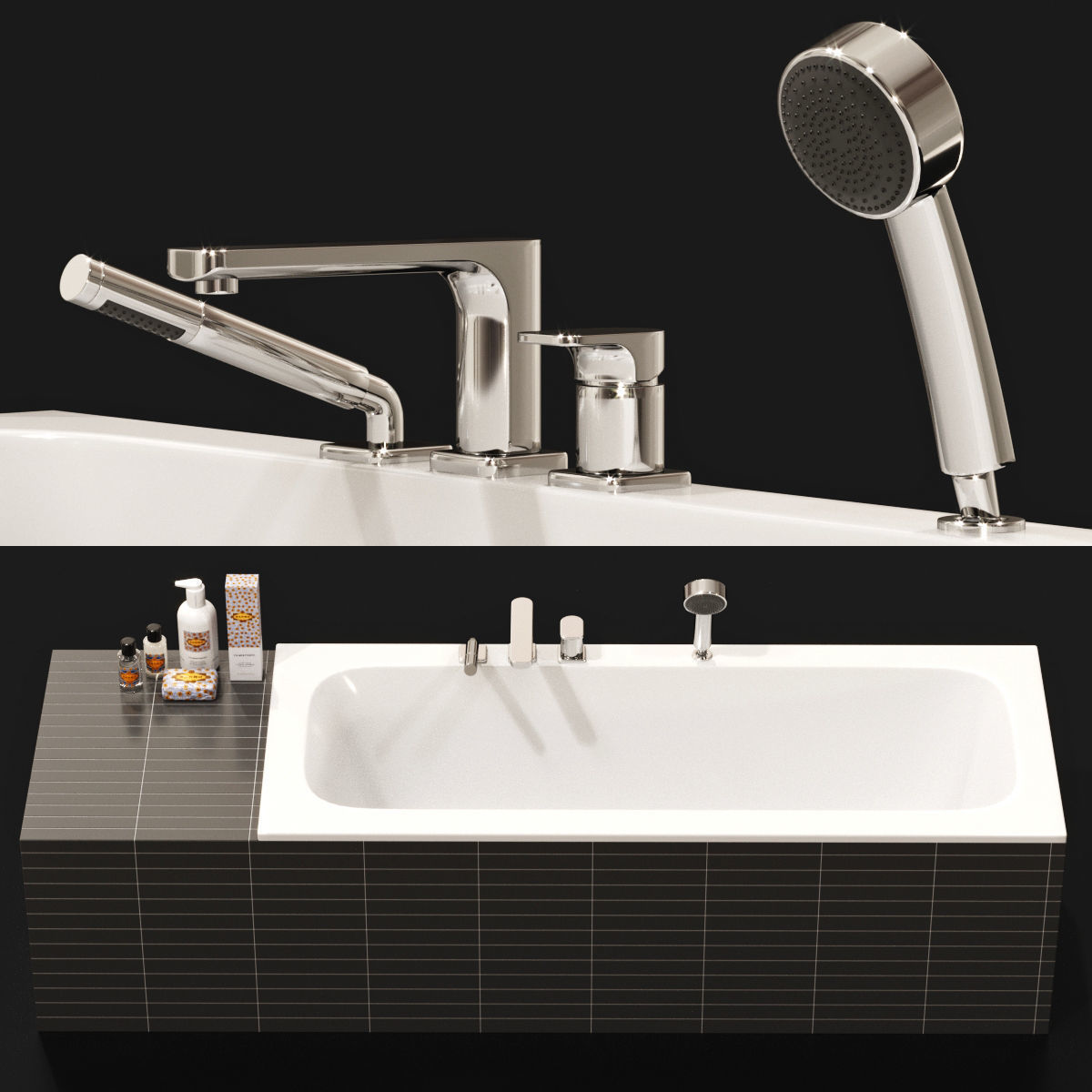 Villeroy and Boch Bathtub and Tap with Cosmetics