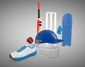 Cricket bat and helmet 3D model