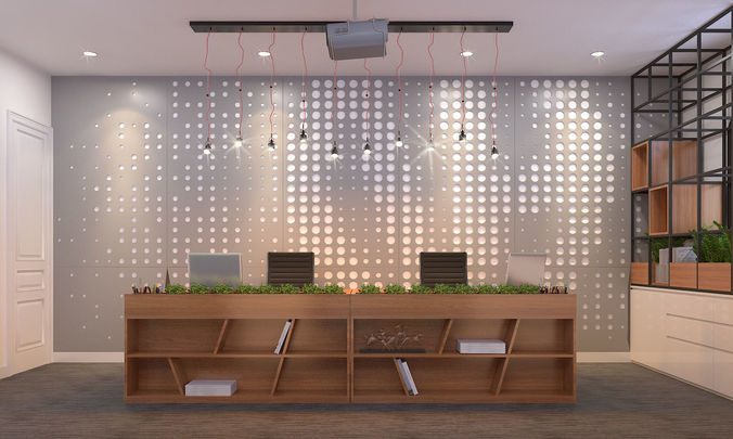 reception office 3d model max 3ds fbx 1
