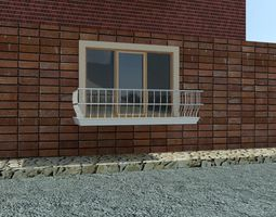 french window and balcon 3D model